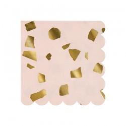 Tovagliolini rosa con fantasia coriandoli dorati