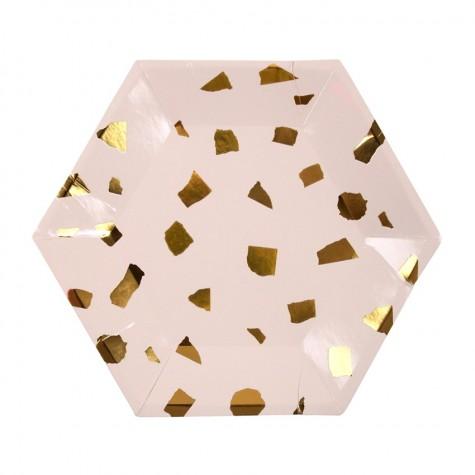 Piattini di carta con fantasia coriandoli dorati