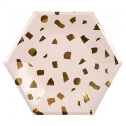 Piatti di carta fantasia coriandoli dorati