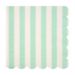 Tovaglioli di carta a strisce color menta