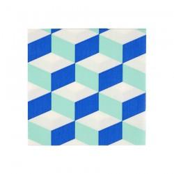 Tovagliolini con trama geometrica blu e menta