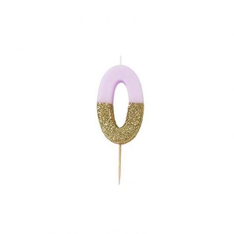 Candelina di compleanno glitterata - 0
