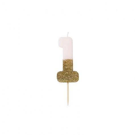 Candelina di compleanno glitterata - 1