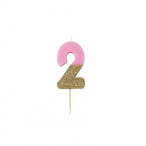 Candelina di compleanno glitterata - 2
