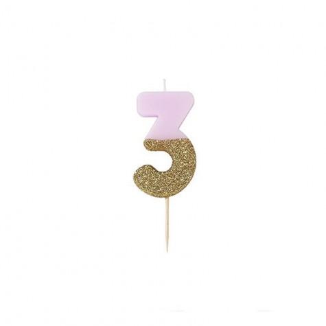 Candelina di compleanno glitterata - 3