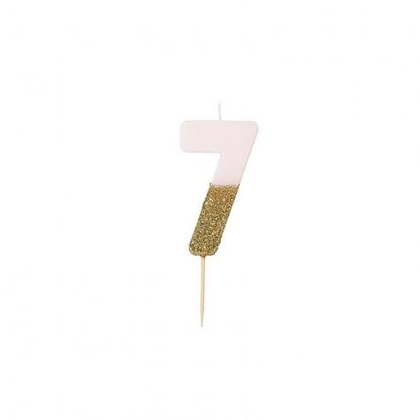 Candelina di compleanno glitterata - 7