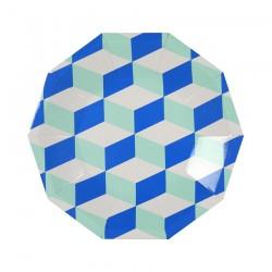 Piatti di carta con trama geometrica blu e menta