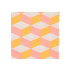 Tovagliolini di carta a trama geometrica rosa e arancione