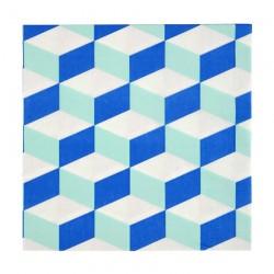 Tovaglioli di carta a tarma geometrica blu e menta