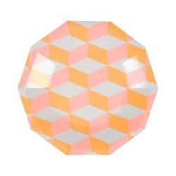 Piattini di carta con trama geometrica rosa e arancione