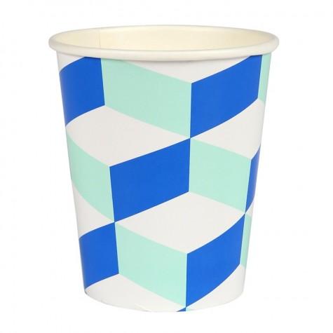 Bicchieri di carta con trama geometrica blu e menta