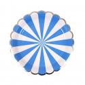 Piattini di carta a righe bianco-blu