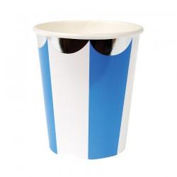 Bicchieri di carta con strisce blu