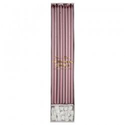 Candeline di compleanno rosa metallizzato