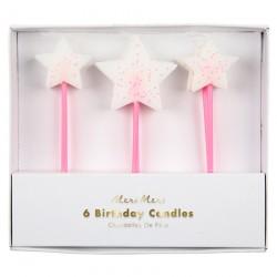 Candeline rosa con stella bianca