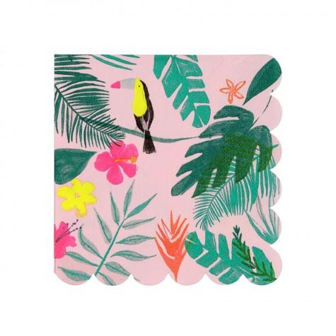 Tovagliolini di carta rosa con fantasia tropicale