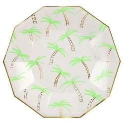Piatti di carta con fantasia tropicale