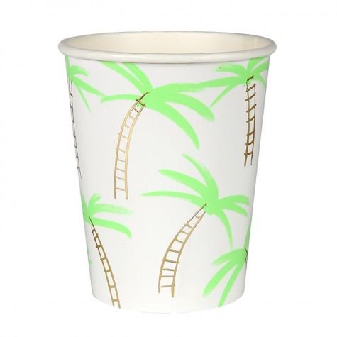 Bicchieri di carta con fantasia tropicale