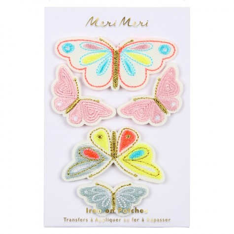 Toppe ricamate a forma di farfalla