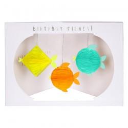 Biglietto di auguri con pesciolini effetto 3D