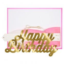 Biglietto Happy Birthday con ventaglio rosa