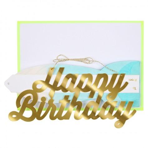 Biglietto Happy Birthday con ventaglio azzurro