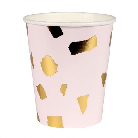 Bicchieri di carta con fantasia coriandoli dorati