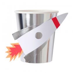 Bicchieri di carta Space con razzo