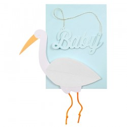Biglietto per nascita bimbo con cicogna