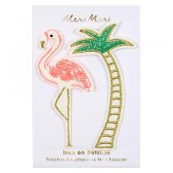 Toppe ricamate Flamingo e Palma