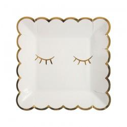 Piattini di carta con occhietti e bordo dorati