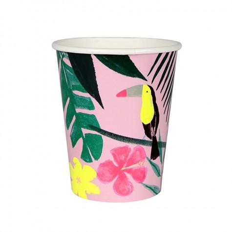 Bicchieri di carta a fantasia tropicale