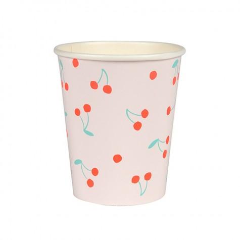 Bicchieri di carta con fantasia ciliegie