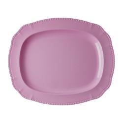 Piatto da portata rosa con rifiniture