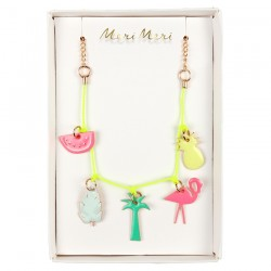 Tropical Enamel Charm Necklace