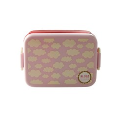 Lunchbox with Divider - Cloud Print - Pink - Large