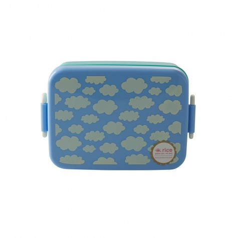 Lunchbox with Divider - Cloud Print - Blue - Large