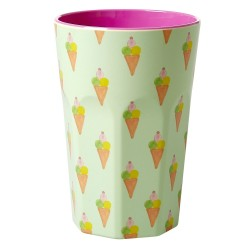 Melamine Cup with Ice Cream Print - Two Tone - Tall