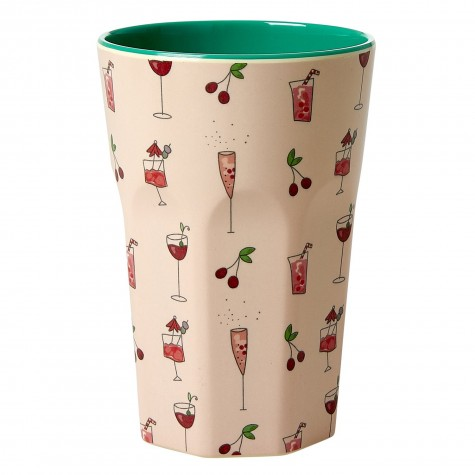 Melamine Cup with Pink Cocktail Print - Two Tone - Tall