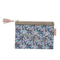 Flat Pencil Case with Small Flower Print - Blue