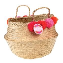 Raffia bag with colored pompom, fucsia