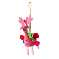 Lama con pompom, rosa