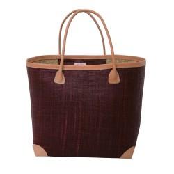 Large raffia bag with leather details