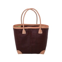 Medium bordeaux raffia bag with leather details