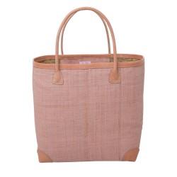 Large pink raffia bag with leather details