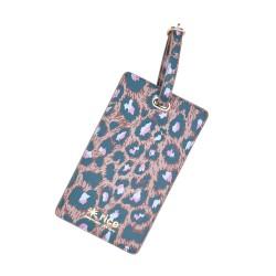 Etichetta per valigia con fantasia leopardata