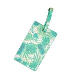Etichetta per valigia con fantasia foglie