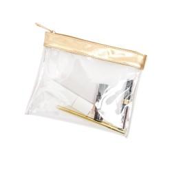 Busta trasparente per liquidi in aereo, oro