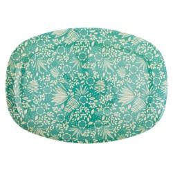 Piatto ovale con fantasia fiori turchesi