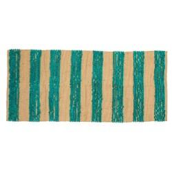 Tappeto rettangolare con strisce verdi-blu